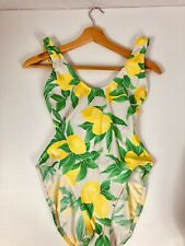 Vintage Adrienne Vittadini Lemon Bathing Suit Sz 10