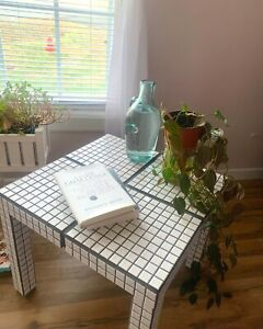 Custom-Made Danish Style Glossy White Tile Table. 20inx20in