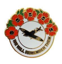 RAF Spitfire We Will Remember Them Poppy Lapel Pin Badge Smartbadge®