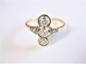 Jugendstil Ring Gold 585 mit Diamanten, 2,88 g