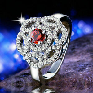 2Ct Round Cut Red Garnet Flower Cluster Engagement Ring In 14K White Gold Finish