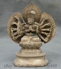 """6 """"Vieille Chine Bouddhisme Argent 18 Mains Maha Cundi Mère Sculpture"""
