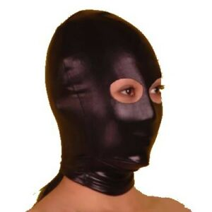 Black Lycra/Latex hood with open eyes (HO-16-BLA), FREE UK DELIVERY