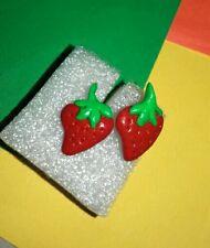 Orecchini perno fragola creazioni fimo earrings fatti a mano Bijoux idea regalo