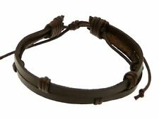 Dark Brown Leather Double Strap & Cord Surf Wristband Bracelet Adjustable Surfer