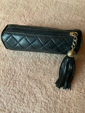 Chanel makeup bag Pouch Vintage Leather Tassel Quilted 80's