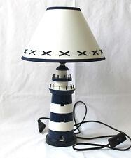 Leuchtturm Lampe blau/weiß ca. 40cm Tischlampe Holz