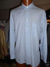 BRIONI BLUE PLAID DRESS SHIRT SIZE XL  Beautiful Condition.!  From Italy..!