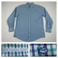 Southern Tide Mens Large Blue Check Plaid Button Front Performance Sport Shirt