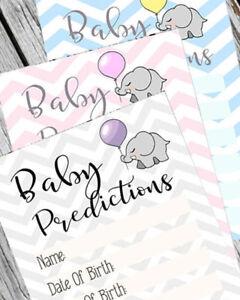 Baby Shower Games x25 Prediction Cards Game Keepsakes Boy / Girl /Unisex Chevron