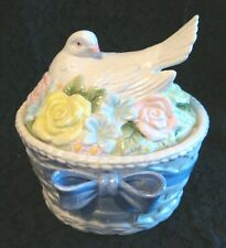 FITZ AND FLOYD Covered Bowl Candy Dish: Basket Weave w/ Blue Ribbon & Dove