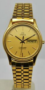 Vintage Omega Seamster quartz gold plated day and date dress watch Cal1437