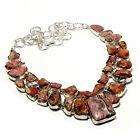 Rodocrosita Piedra Preciosa Étnico 925 de Ley Plata Joyería Collar