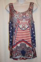 WRANGLER - M red white blue Patriotic Boho Cowgirl TANK top w/ OPEN SIDE SEAMS