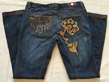 Antik Jeans Size 31 Denim Blue Embroidered Distressed Button Fly Boot Cut EUC