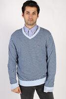 Vintage Tommy Hilfiger V Neck Jumper EU UK Casual 90s Men Sweaters L Blue IL1144
