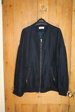 Silky longline WEEKDAY oversized boyfriend navy bomber jacket cos L 10 12 14