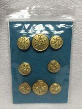 Vintage Gold Tone Replacement Set of 8 Blazer Buttons Fleur Sword Eagle Griffin
