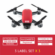 DJI Spark - Red - Drone Labels, Display FAA UAS Registration # and Phone #