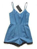 Goldie Free The Mind Blue Chambray Denim Playsuit Romper With Ball Trim XS W26