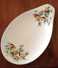 Hall Hallcraft Eva Zeisel Pinecone Greenery Teardrop Oval White Server/Midcentry
