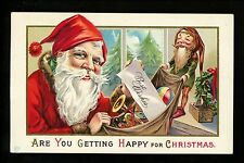 Christmas Santa postcard Red Robe w/ Elf Gnome Presents Vintage Series 68 C