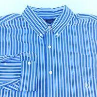 Chaps Mens Size XXL Blue White Striped Button Down Long Sleeve Dress Shirt