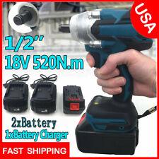 """1/2"""" 520Nm 18V Torque sem escovas Chave De Impacto Elétrica Sem Fio Bateria Driver +2"""