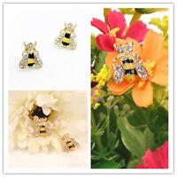 Lovely Jewelry Enamel Rhinestone cool Bumble Bee Crystal Earrings Animal EarStud
