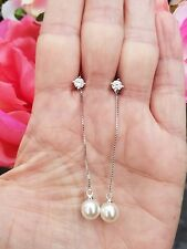 Diamond Simulant Studs W/White Pearl Drop Dangle Earrings, Sterling  silver