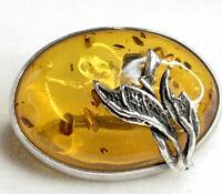 sterling silver brooch amber coloured Vintage Brooch 925 Leaf