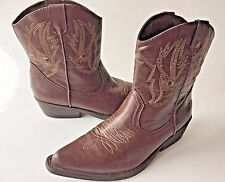 SO Western Mid Calf Boots Kohl's Solyla Brown Embroidery Pointy Women's 7.5
