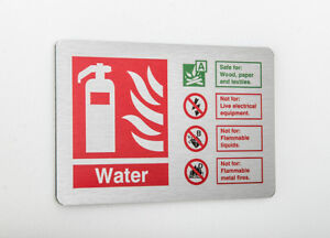 Water Fire Extinguisher ID Sign 150mm X 100mm  Brushed Silver (BFI-14Y)
