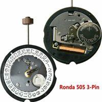 Schweizer Ronda 505 3Pin Uhr Quarzwerk Datum bei 3'/6' Uhrwerke mit 371 Batterie