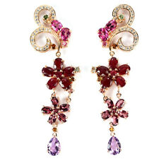 BIG REAL RUBY TOPAZ RHDOOLITE AMETHYST TOURAMLINE CZ STERLING 925 SILVER EARRING