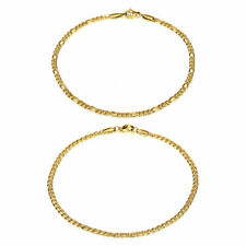 """Anklet Bracelet Stainless Steel Ankle Foot Chain 2Pcs 3mm 10"""" Figaro & Curb Link"""