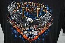 HARLEY DAVIDSON MOTORCYCLES T-Shirt Mens Black Eagle Justified Pride Daytona FL