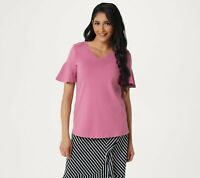 Studio by Denim & Co. V-Neck Top with Short Flutter Sleeve Berry Blush Large