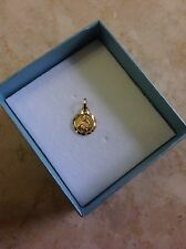 14K Solid Yellow Gold Small Religious Our Guardian Angel Medal Pendant for baby.
