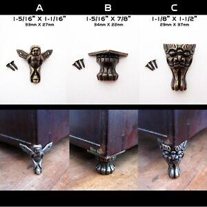 4pcs Antique Brass Jewelry Chest Wooden Box Decorative Feet Leg Corner Protector