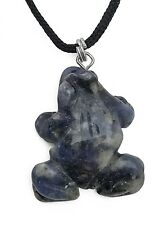Frog Pendant Blue Sodalite Gemstone Pendant Hand Carved Stone Necklace Jewelry