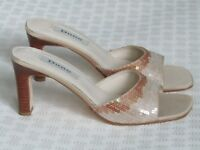 Dune London Beige Embellished Slip On Sandals Shoes UK Size  6 39