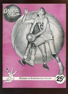 March 15 1960 NBA Program Anderson Packers at Philadelphia Warriors weak EX