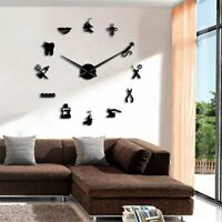 Dental Clinic Wall Clock DIY Oversized Needle Mirror Dentist Decorative Watches
