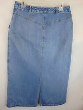 L.  L.  Bean Women 14 R Denim Skirt Medium Wash 2-Pocket Kick Pleat Pre-Owned