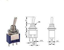 4 pcs Mini MTS-102 SPDT 3 Pins Toggle Switch AC 6A 125VAC/3A 250VAC ON/ON