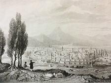 Arménie occidentale Anatolie Turquie ville d' Erzéroum Ezurum gravure XIX e