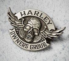 HARLEY DAVIDSON OWNERS GROUP WINGED SKULL VEST PIN  * NEW * HOG JACKET BIKER PIN