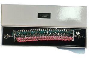 Victoria's Secret Bracelet New in Box Teal Pink Goldtone Multi 7 - 7.75 inches