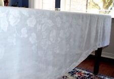 VINTAGE WHITE IRISH LINEN DAMASK ROSES & VINES TABLECLOTH HAND HEM 70X84 INCHES